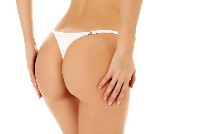 Female butt, white background